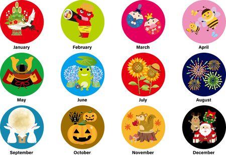 Iconos de ilustración mensual en el calendario japonés, las ilustraciones son grullas, demonios, muñecas, abejas, muñecas de mayo, ranas, girasoles, fuegos artificiales, 15 noches, calabazas de Halloween, ardillas, Santa Claus