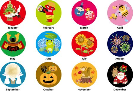 Monthly illustration icons on the Japanese calendar, illustrations are cranes, demons, dolls, bees, may dolls, frogs, sunflowers, fireworks, 15 nights, Halloween pumpkins, squirrels, Santa Claus