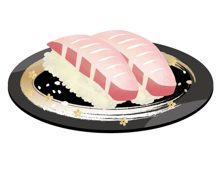 Japanese food sushi, watercolor style on a white background Vectores