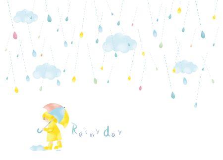 Watercolor style illustration of a rainy day Ilustração