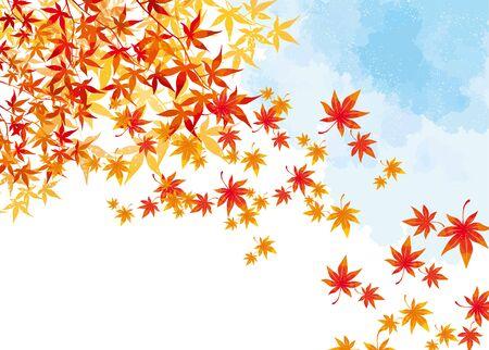 Japanese autumn leaves background illustration