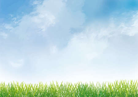 Blue sky and grass background material Ilustracja