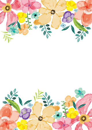 Frame on background of vector image of watercolor flowers