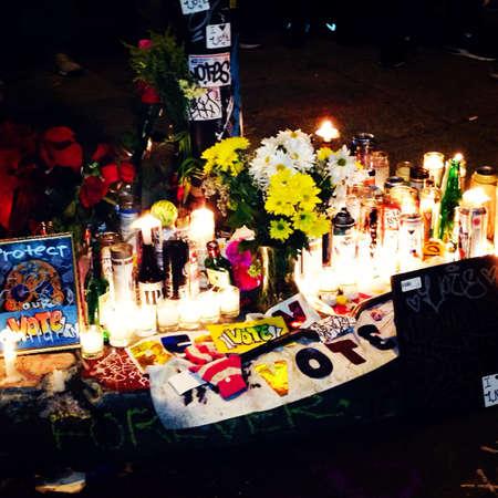 vigil: Candlelit light vigil in San Francisco  Stock Photo