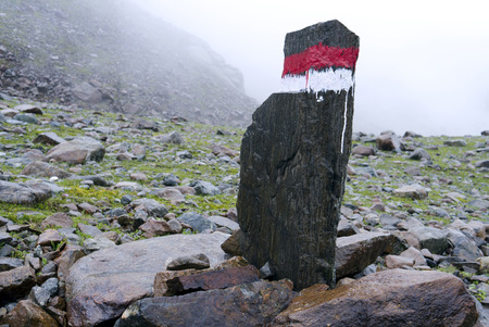 guiding: A signpost in the tirol alps guiding the way on a hiking trial.