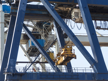 dockside: Container crane at dockside in harbor  detail.