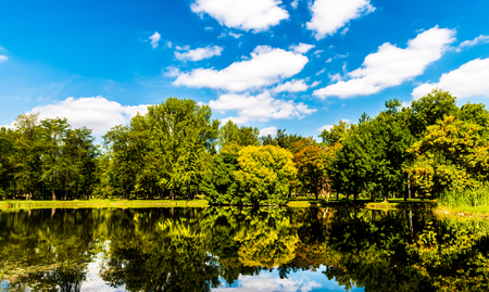 a Beautiful colorsful landscape of an autumn photo with brown yellow and green trees reflecting on the lake photo