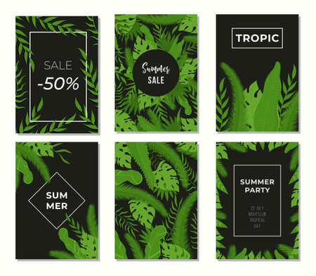 Vector set of tropical summer posters. Banners with leaves from the tropics.