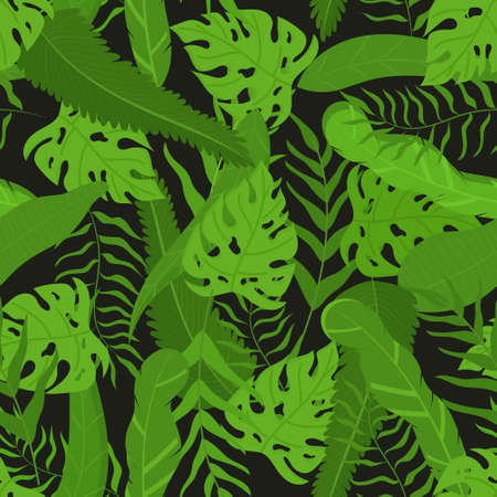 Vector seamless pattern with tropical leaves. Summer fashion background on botanical themes.