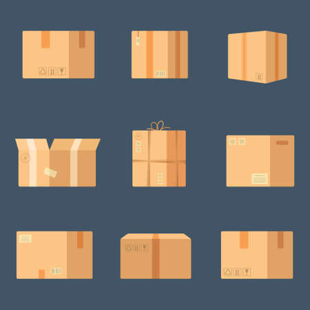 Vector illustration of boxes. Set on blue background. The parcel is ready to be shipped.