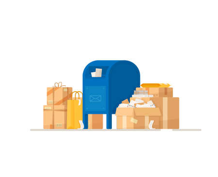Vector illustration of a mailbox. Parcel delivery. Boxes filled with sheets.