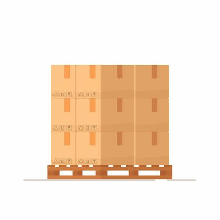 Boxes on a wooded pallet. Vector illustration, flat style stock cardboard boxes. Parcels stack front view. Ilustração