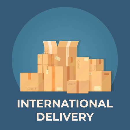 Vector illustration of a box. Drawing on a blue background. Parcel warehouse. Vecteurs