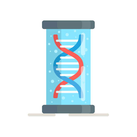 Vector illustration of dna in a liquid capsule. Checking the compatibility test. The modern simple flat sign of the evolution of life is isolated. Chromosome logo.