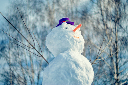 against abstract: Snowman with purple hat against abstract outdor background Stock Photo
