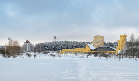 deportes olimpicos: MINSK, BELARUS - January 15, 2017: Sports complex Olympic reserve. Pool National Olympic Training Center in athletics in Minsk, Belarus. The former sports complex labor reserves . Winter view Editorial