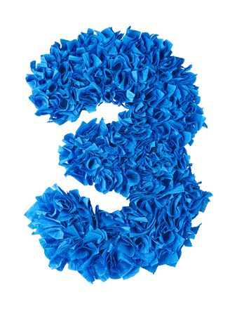 scraps: Three. Handmade number 3 from blue crepe paper isolated on white background. Set of numbers from scraps of paper