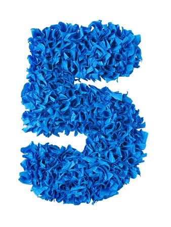 shaggy: Five. Handmade number 5 from blue crepe paper isolated on white background. Set of numbers from scraps of paper Stock Photo