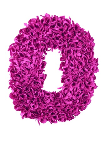 designation: Zero. Handmade number 0 from magenta color crepe paper isolated on white background. Set of pink numbers from scraps of paper Stock Photo