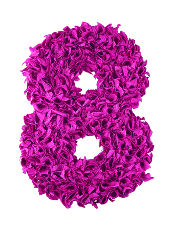 shaggy: Eight. Handmade number 8 from magenta color crepe paper isolated on white background. Set of pink numbers from scraps of paper