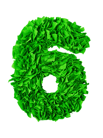 Six. Handmade number 6 from green crepe paper isolated on white background. Set of numbers from scraps of paper