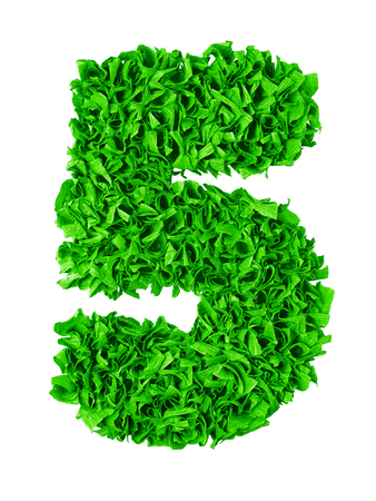 Five. Handmade number 5 from green crepe paper isolated on white background. Set of numbers from scraps of paper