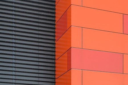 jalousie: Modern facade of composite panels, view from outside. Abstract architecture background