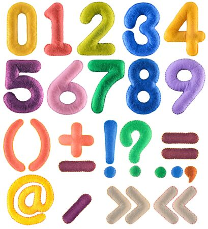 Handmade multicolor number set with punctuation marks from felt isolated on white background