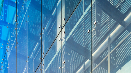 triplex: Architecture abstract background. Glass curtain walls. Fasteners elements of spider glass system. Facade detail