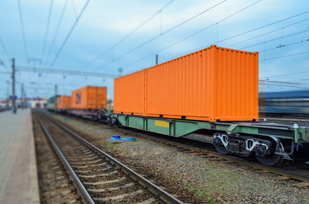 substructure: Transportation of cargoes by rail in containers. Railway infrastructure background