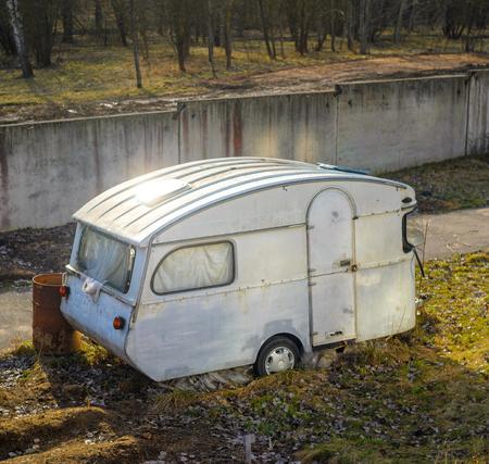 Old Vintage Abandoned Mobile Home Trailer House Camper