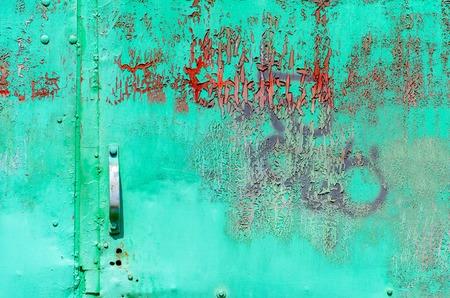 Old green metal door texture for background Stock Photo