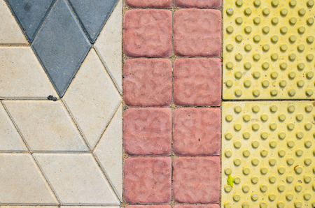 Tactile Paving Slabs Texture . Blind way.Traffic route for blind peoples Imagens - 87397473