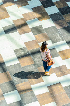 Silhouette of a walking woman with long shadow from above. Abstract background of blur in motion figure of a yang woman in a public building hall top view. Blurred Abstract Background. Stok Fotoğraf