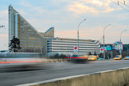 """Belarus, Minsk - March 13, 2017: Educational Building â""""–15 of the Belarusian National Technical University, View from the Independence Avenue to the Main Facade at Sunset"""