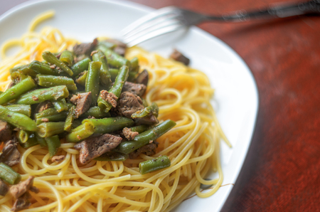 Plate with Hot Delicious Pasta with Meat and Green Beans