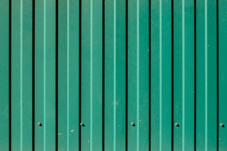 Green Corrugated Metal Panel Texture. Building Finishing or Roofing Material