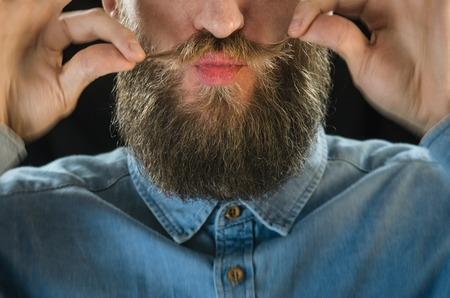 Lips for the Kiss of Bearded Man in a Blue Denim Shirt Twirling His Mustache with His Fingers. Portrait of a Hipster on Black Background Closeup Stock Photo