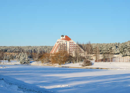Minsk, Belarus, January 15, 2017: Winter frosty snowy landscape. The building of the hotel