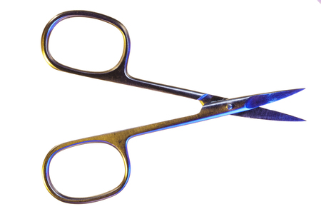 Manicure scissors isolated on a white background. Open nail scissors macro Stok Fotoğraf