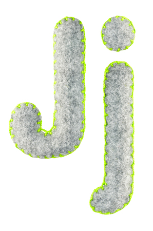 The letter J of the Latin alphabet isolated on a white background. The main and upper letter of the alphabet of gray felt. Soft font with rounded edges for use in design