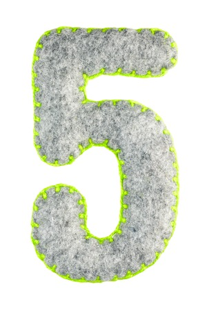 Number 5. Hand made number Five from grey felt isolated on white background. Set of numbers from grey felt toys. Soft font with rounded edges for use in design