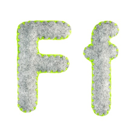 The letter F of the Latin alphabet isolated on a white background. The main and upper letter of the alphabet of gray felt. Soft font with rounded edges for use in design