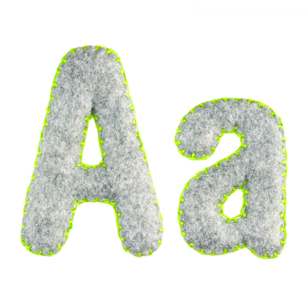 The letter A of the Latin alphabet isolated on a white background. The main and upper letter of the alphabet of gray felt. Soft font with rounded edges for use in design