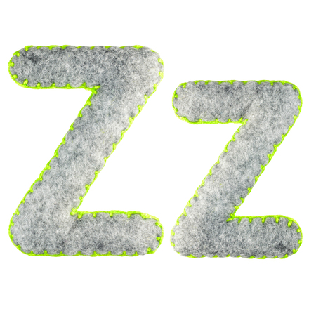 The letter Z of the Latin alphabet isolated on a white background. The main and upper letter of the alphabet of gray felt. Soft font with rounded edges for use in design