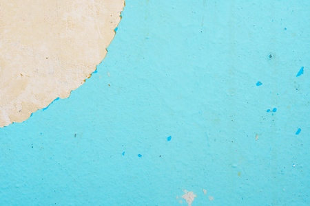 Peeling Blue Aquamarine Color Paint from the Wall. Shattered Plaster Background Stock fotó