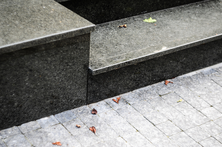 Steps of Black Polished Granite Close-up Detailed View