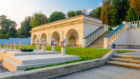 Lviv, Ukraine- August 31, 2018: Lychakiv cemetery at sunset