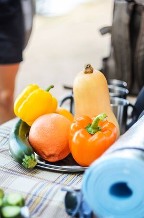 Outdoor still life of vegetables for grilling Reklamní fotografie