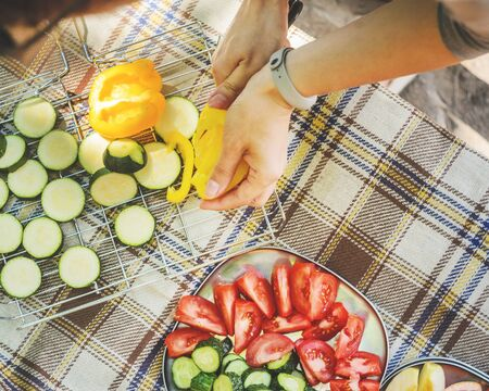 Outdoors top view on the checkered tablecloth during cooking process. Woman cutting vegetables and fruits at a picnic